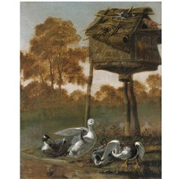 ducks by a river with other birds perched on a birdhouse by dirck wyntrack