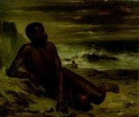 etude d'un homme noir sur une plage by victor-jean adam
