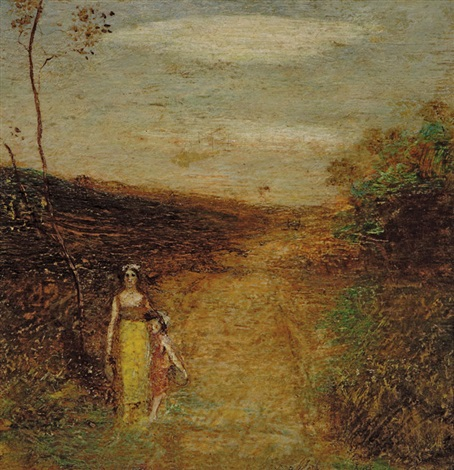 landscape of woman and child by albert pinkham ryder