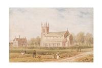 paisaje con caminantes e iglesia by thomas hosmer shepherd