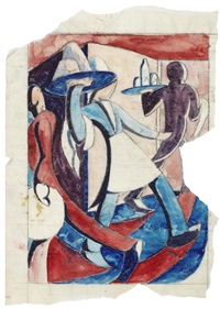 waiters (study for the linocut) by ursula fookes