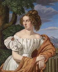 bildnis einer dame vor landschaftshintergrund by heinrich maria von hess