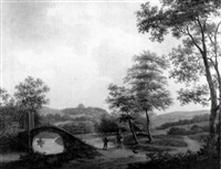 figuren op een landweg bij een bruggetje by hendrik verpoeken