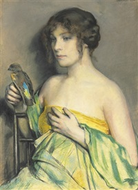 woman with parrot by william sergeant kendall