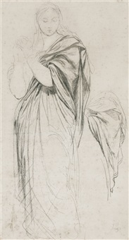 a preliminary study for the virgin mary in the vow of louis xiii by jean-auguste-dominique ingres