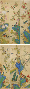 birds and flowers (6 works) by anonymous-asian