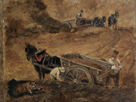 a study of figures and horse drawn wagons on hampstead heath intended for branch hill pond hampstead by john constable