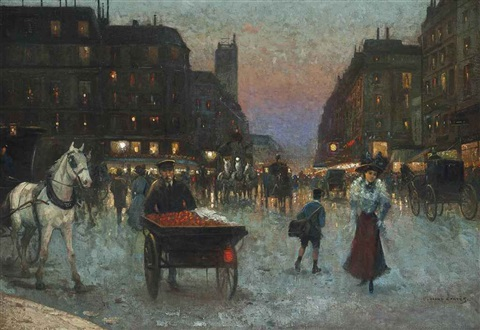 a bustling street at dusk paris by edouard léon cortès