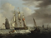 a frigate of the red squadron off a coast by george webster