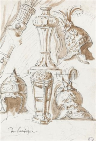 three elaborate helmets and two perfume burners sketch 9 others 10 works by augustin pajou
