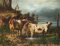 kühe am gatter by carl rudolph huber
