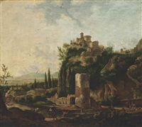 an italianate river landscape with a deer hunt, beside classical ruins, a hilltop town beyond by frederick de moucheron