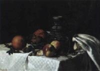 stilleben mit orangen, äpfeln und nüssen by hermine lang-laris