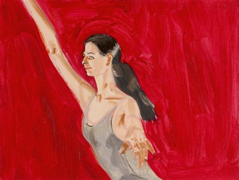 pat with arms extended by alex katz