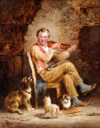 a fiddler and his audience by george hepper