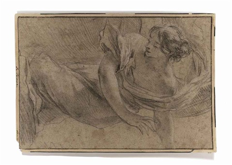 a kneeling woman in a billowing mantle by simon vouet