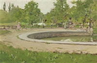 a water fountain in prospect park by william merritt chase