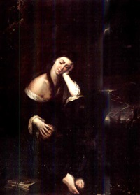 saint mary magdalen meditating in a stormy landscape by luciano borzone