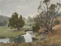 untitled (pastoral landscape) by ernest william buckmaster
