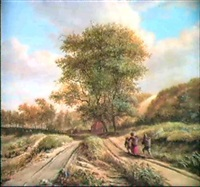 travellers on a country path by vincent laurensz van der vinne the younger