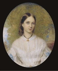 a young lady, seated in white dress with lace collar, blue ribbons at her elbows, dark hair, wearing a gold necklace suspended from a black ribbon; landscape background by reginald easton