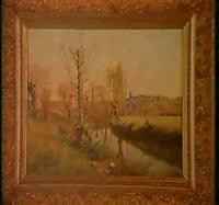 bord de riviere avec village by theodore lespinasse
