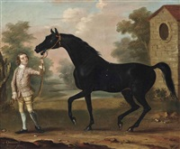 oronoco, held by a groom, in a landscape by richard roper