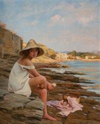 jeune fille au bord de l'eau by marius barthalot