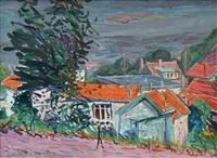 maisons en bordure de chemin by emile sabouraud