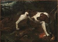 cani in un paesaggio by abraham danielsz hondius