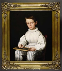 portrait of robert roman (1830-1855) holding a school slate board by jacques guillaume lucien amans