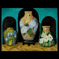 paperweight vases (3 works) by l.h. nash