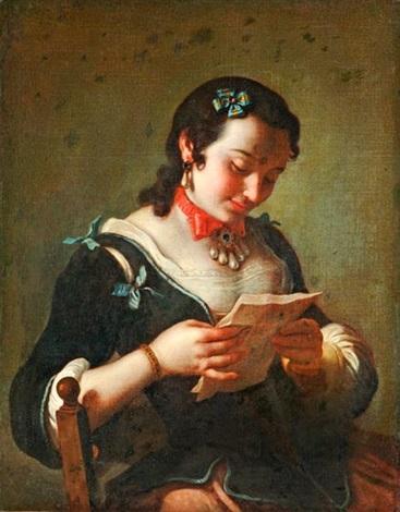 levelet olvasó nő by pietro antonio rotari
