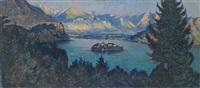 panormaansicht bleder see (veldeser see) mit der insel blejski otok by adolf frey-moock