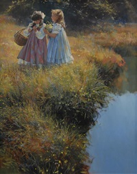 two girls picking flowers by dianne flynn