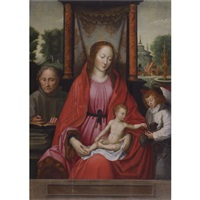 the holy family with an attendant angel by marcellus coffermans
