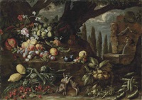 roses, carnations, lilies, figs, peaches, plums, lemons, artichokes, cherries, other fruit and two dead hares in a wooded clearing, by a fountain by michelangelo di campidoglio