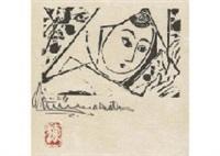 woman with white scarf by shiko munakata