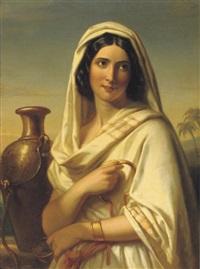 rebecca met de geschenken van eliëzer - an oriental beauty by jan adam janszoon kruseman