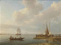 fishermen and fishing boats on a calm estuary by johannes hermanus koekkoek