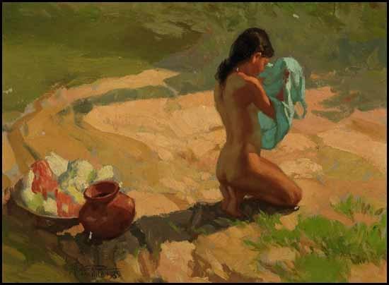girl bathing by fernando cueto amorsolo
