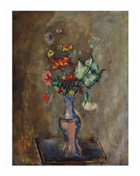 celadon vase with flowers by max weber