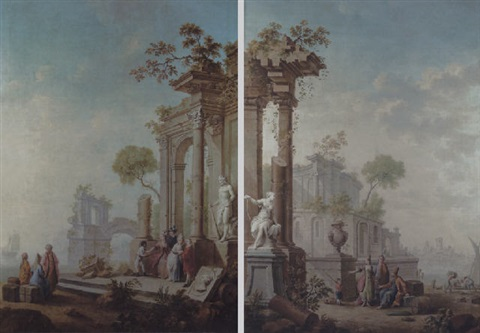 a capriccio of a mediterranean harbour with orientals by classical ruins and a statue of diana by heinrich wilhelm schweickardt
