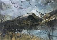 llyn gwynant, snowdonia with yr aran under snow (gaeaf llyn gwynant) by william selwyn