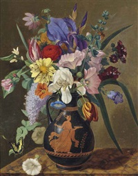 tulips, iris, convolvulus and summer flowers in an etruscan vase on a marble ledge by adolf (carl) senff