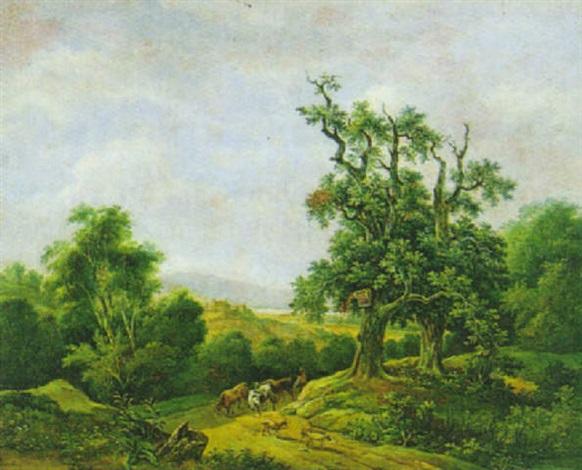 weite landschaft mit hirten und heimkehrender herde by joseph altmann