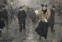 a busy street scene in the hague by floris arntzenius