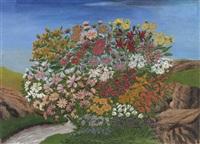 massif de fleurs près de la rivière by andré bauchant