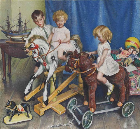 henry anne and daphne children of col sir edward and lady warner by dame laura knight