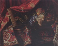 a still life of carpets, a mirror, a basket with black and white grapes, figs, medlars, peaches and pomegranates, all on a table with a draped red gilt-embroidered curtain by master of the carpets